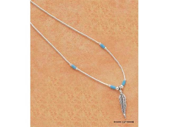 Sterling Silver 18 Inch Liquid Silver Feather Necklace with Turquoise Heishi