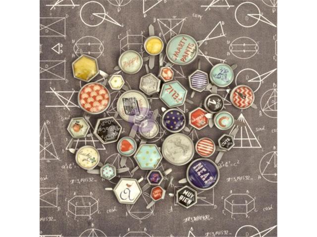 Prima Marketing 569518 School Memories Decorative Metal Brads 32-Pkg-