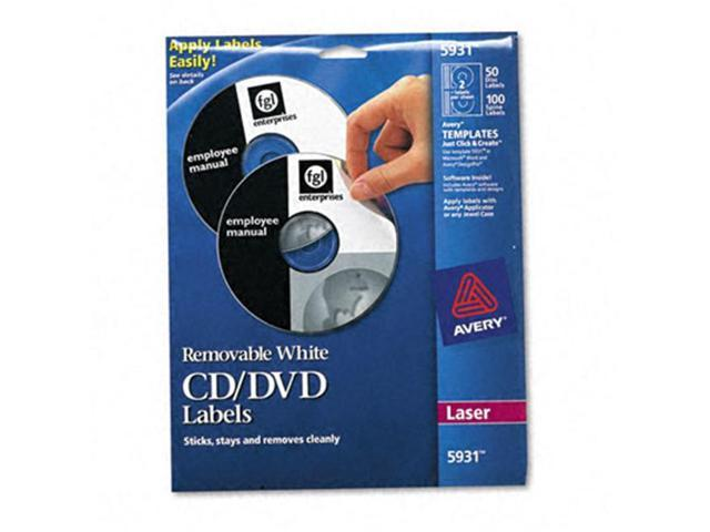 Avery Matte White Removable CD Labels for Laser Printers 5931, 50 Disc Labels and 100 Spine Labels
