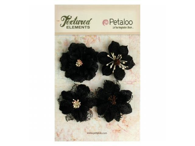 Petaloo P1200-209 Textured Elements Burlap Blossoms 4-Pkg-Black