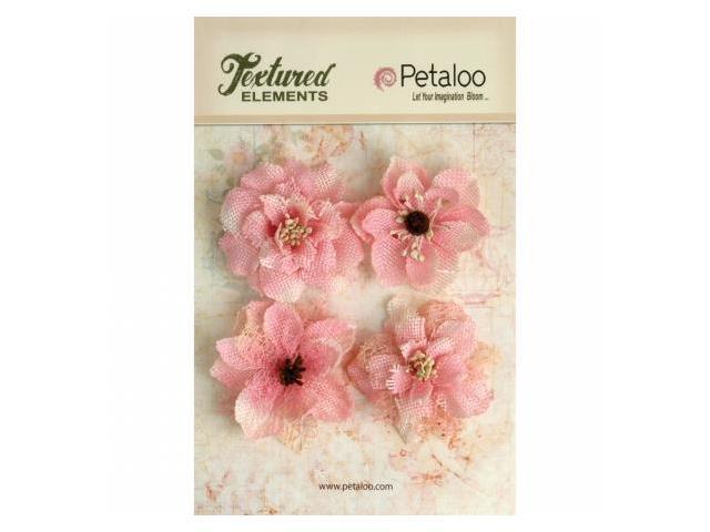 Petaloo P1200-211 Textured Elements Burlap Blossoms 4-Pkg-Pink