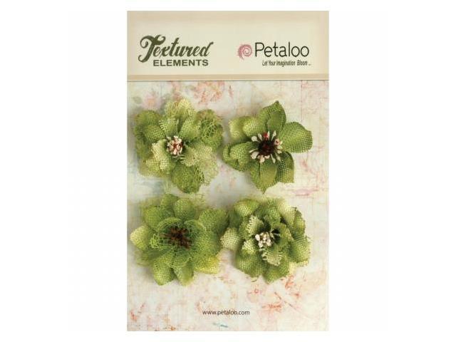 Petaloo P1200-214 Textured Elements Burlap Blossoms 4-Pkg-Pistachio