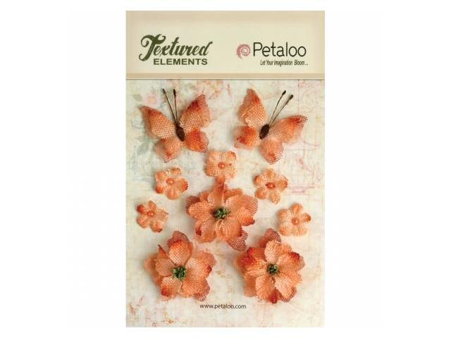 Petaloo P1201-204 Textured Elements Burlap Blossoms Flowers-Butterflies 10-Pkg-Apricot