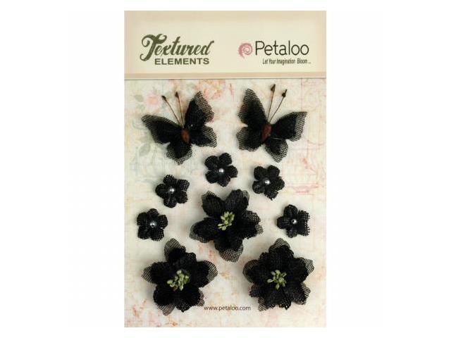 Petaloo P1201-209 Textured Elements Burlap Blossoms Flowers-Butterflies 10-Pkg-Black