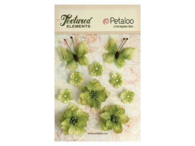 Petaloo P1201-214 Textured Elements Burlap Blossoms Flowers-Butterflies 10-Pkg-Pistachio