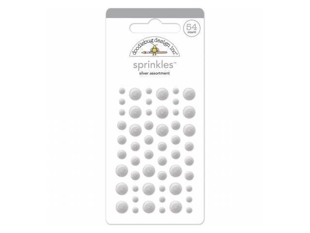 Doodlebug MONOS-4183 Glossy Enamel Adhesive Sprinkles-Silver Dots 54-Pkg