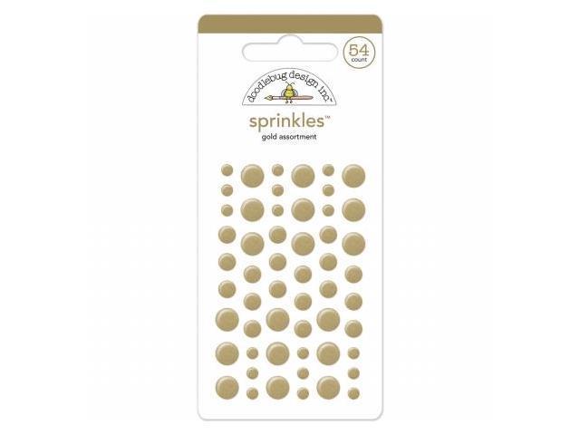 Doodlebug MONOS-4219 Glossy Enamel Adhesive Sprinkles-Gold Dots 54-Pkg