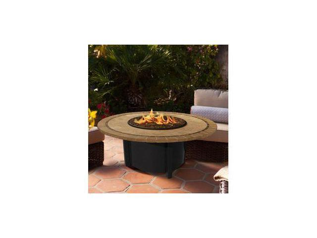 California Outdoor Concepts 5010-BK-PG10-CAP-48 Carmel Chat Height Fire Pit-Black-Black Reflective Glass-Capistrano Mosaic 48 in. Tile Top