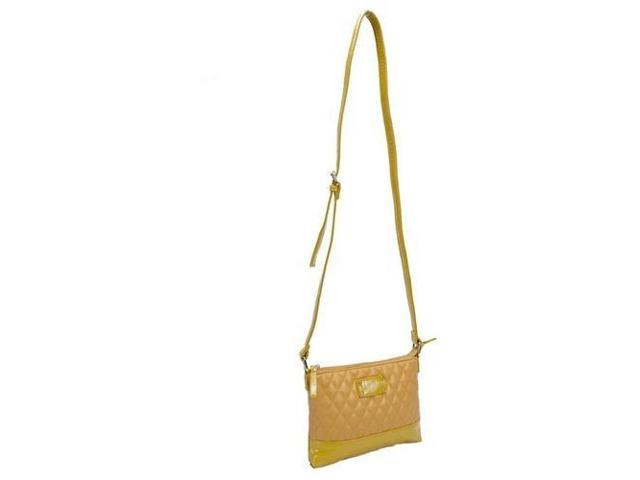 Parinda 11204 CARA Quilted Faux Leather Crossbody Bag - Mustard Tan