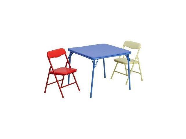 Flash Furniture Kids Colorful 3 Piece Folding Table and Chair Set Newegg