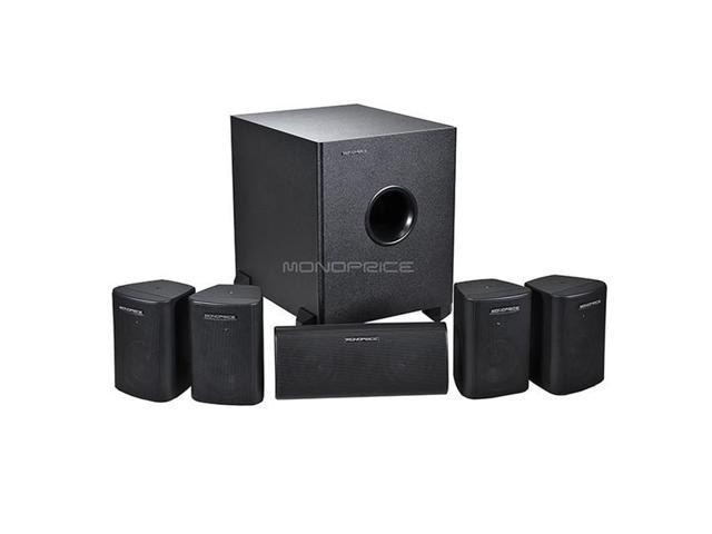Monoprice 8247 5.1 Channel Home Theater Satellite Speakers & Subwoofer - Black