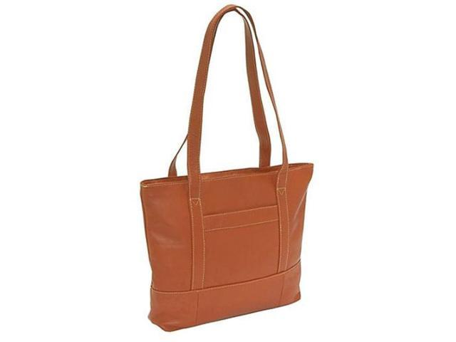 Piel Leather 7630 Top-Zip Tote - Saddle