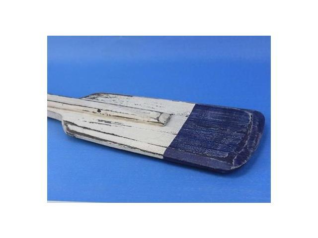 Handcrafted Model Ships Blue-Oar-36 Wooden Rustic St. Lawrence Squared Oar With Hooks 36 in. Decorative Accent