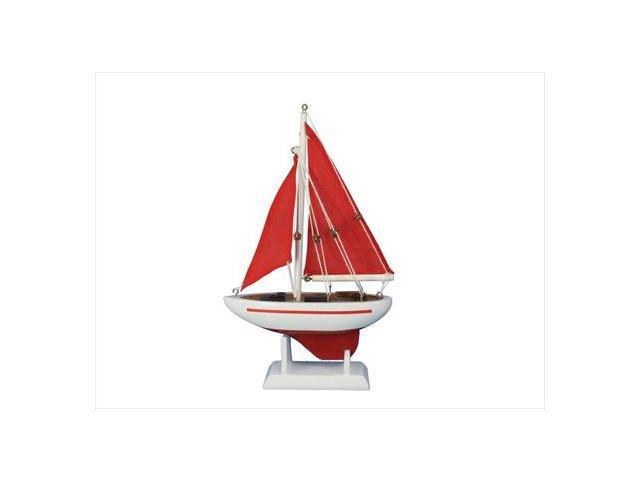 Handcrafted Model Ships Sailboat9-105 Pacific Sailor Red - Red Sails 9 in. Model Ship Decorative Accent