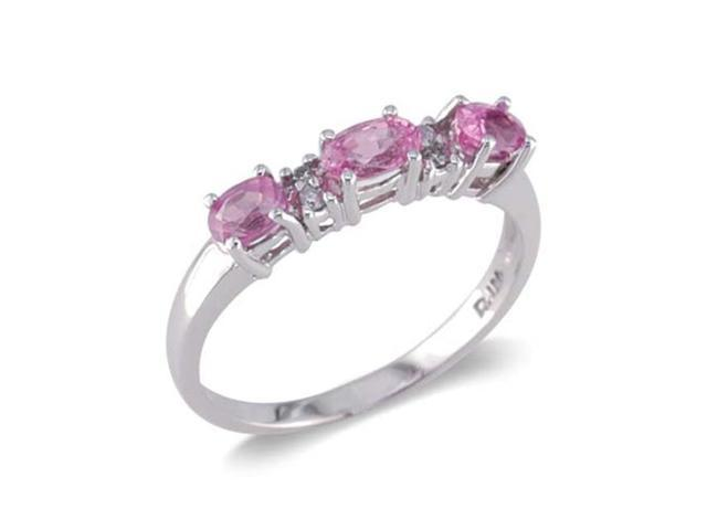 14k white gold three and pink sapphire ring