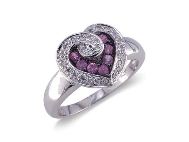 14k white gold shaped and pink sapphire ring