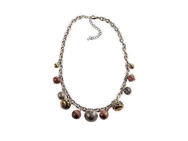 Alexa Starr 4615-N Burnished Silver Chain Necklace With Textured Burnished Tri-tone Bead Drop Offs