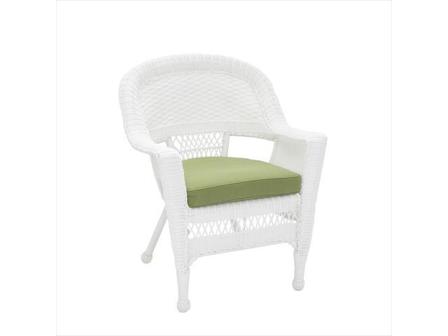 Jeco W00206 C FS029 White Wicker Chair With Green Cushion
