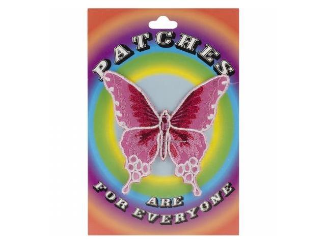 Tees & Novelties PATCH-1218 Patches For Everyone Iron-On Appliques-Large Pink Butterfly