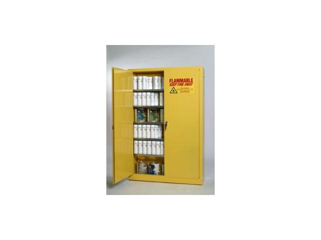 Eagle Ypi-4510 Paint And Ink Safety Storage Cabinets - Yellow Two Door Self-Closing Five Shelves