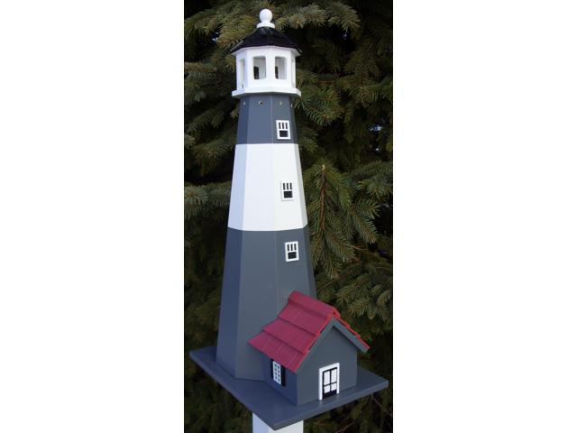 Home Bazaar Tybee Lighthouse Birdhouse - White With Grey Stripes - HB-9202S
