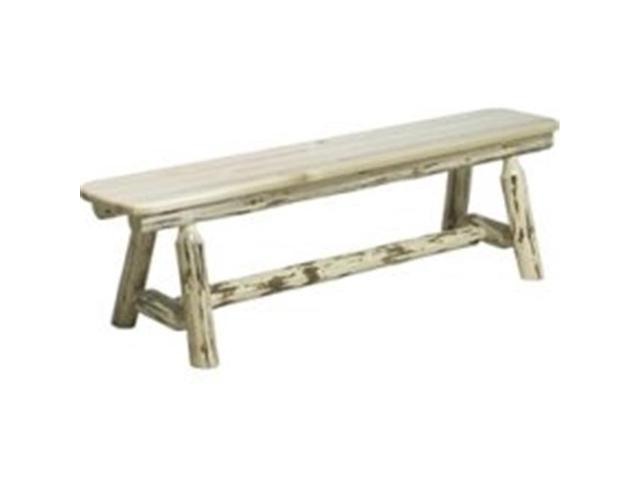 Montana Collection Plank Style Bench, 6 Foot Lacquered