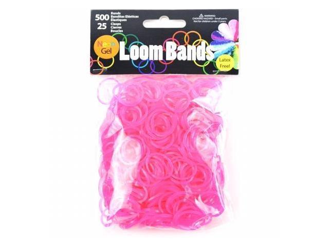 Midwest Design GLB506-82 Gel Loom Bands Value Pack 500 Bands & 25 Clips/Pkg-Rose Red Gel