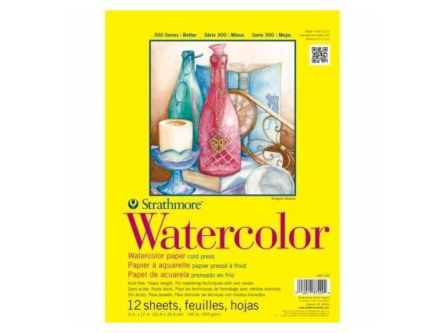 Pro-Art 360109 Strathmore Watercolor Paper Pad 9''X12''-140lb Cold Press 12 Sheets