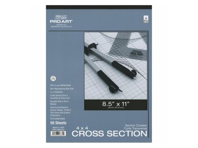 Pro-Art PA033026 Cross Section Pad 8.5''X11''-4x4 Grid 50/Sheets