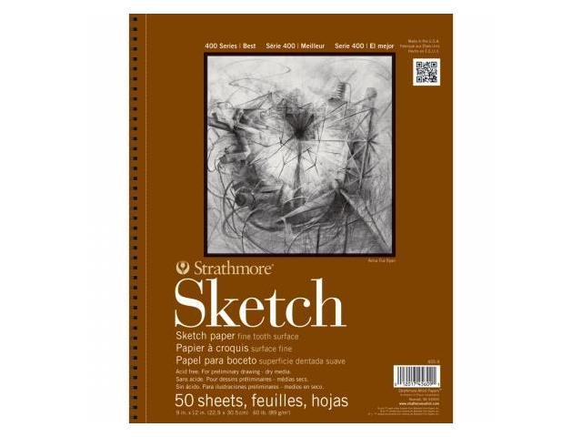 Pro-Art 455800 Strathmore Sketch Paper Pad 5.5''X8.5''-60lb 100 Sheets