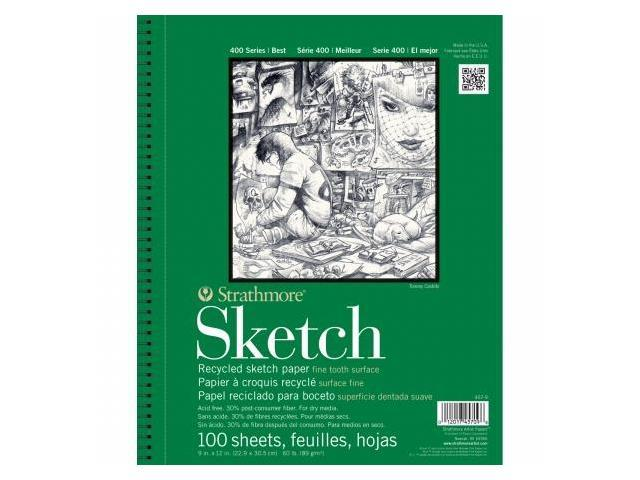 Pro-Art 457500 Strathmore Recycled Sketch Paper Pad 5.5''X8.5''-60lb 100 Sheets