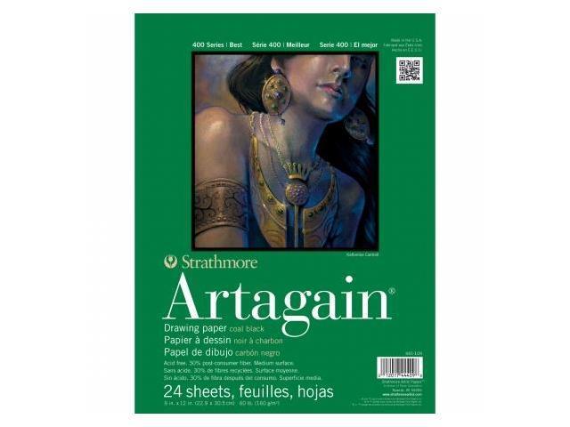 Pro-Art 445109 Strathmore Black Artagain Paper Pad 9''X12''-60lb 24 Sheets