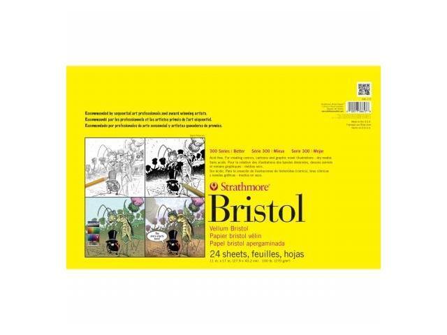 Pro-Art 346100 Strathmore Smooth Bristol Paper Pad 11''X17''-100lb 24 Sheets
