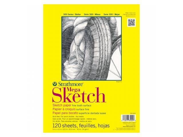 Pro-Art 350409 Strathmore Mega Sketch Paper Pad 9''X12''-50lb 120 Sheets