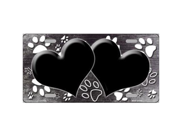 Smart Blonde LP-7572 Paw Print Heart Black White Metal Novelty License Plate