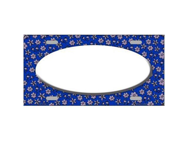 Smart Blonde LP-2756 Blue Purple Flower Doodle White Center Oval Metal Novelty License Plate