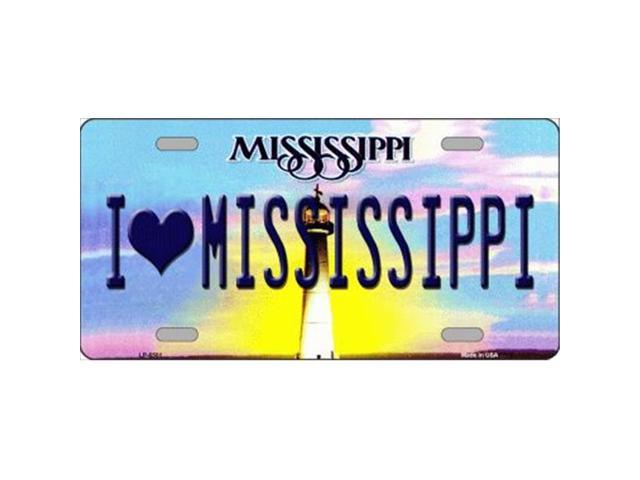 Smart Blonde LP-6581 I Love Mississippi Novelty Metal License Plate