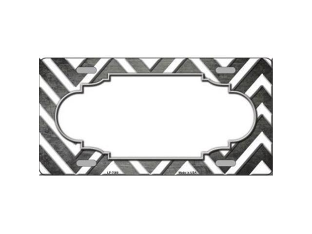 Smart Blonde LP-7089 Gray White Chevron Scallop Print Oil Rubbed Metal Novelty License Plate
