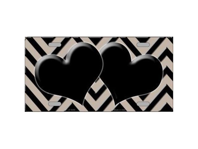 Smart Blonde LP-5059 Tan Black Chevron With Hearts Metal Novelty License Plate