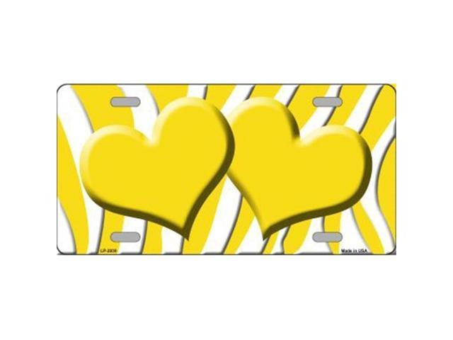 Smart Blonde LP-2930 Yellow White Zebra Print With Yellow Centered Hearts Novelty License Plate