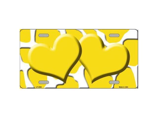 Smart Blonde LP-2966 Yellow White Giraffe Print With Yellow Centered Hearts Novelty License Plate