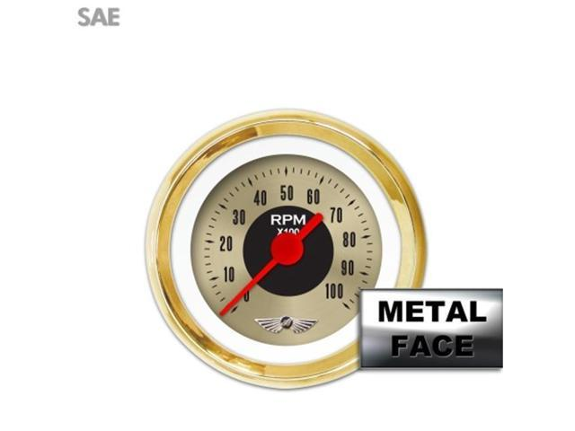 Aurora Instruments GAR2131ZEAIAAAE Tachometer Gauge with emblem - American Classic Gold I by , Red Vintage Needles, Gold Trim Rings ~ Style Kit DIY Install