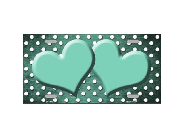 Smart Blonde LP-7406 Mint White Small Dots Hearts Print Oil Rubbed Metal Novelty License Plate