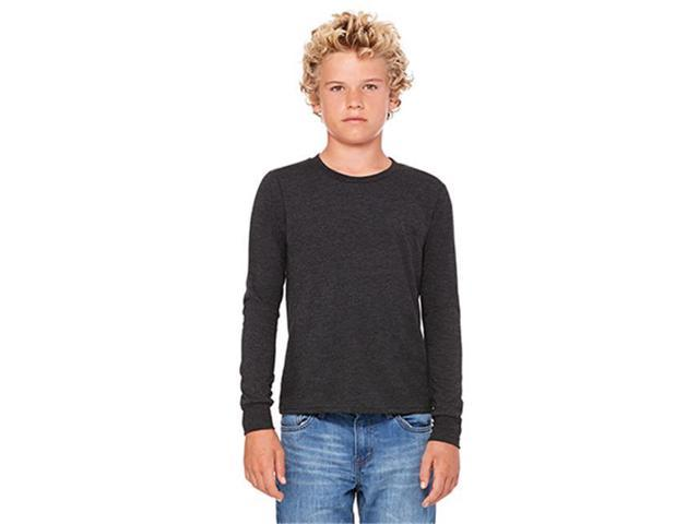 Bella 3501Y Youth Jersey Long Sleeve Tee - Charcoal-Black Triblend, YS