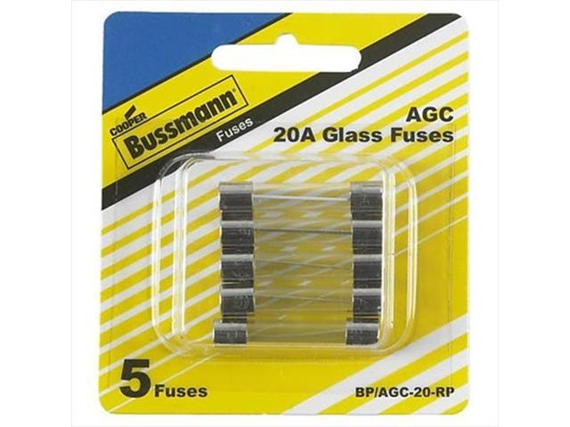 BUSSMANN BPAGC20RP 20 Amp Fast-Acting Glass Tube Fuses 0.25 x 1.25 In. Pack - 5