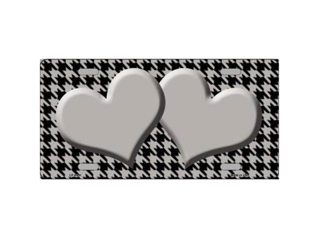 Smart Blonde LP-4580 Grey Black Houndstooth With Grey Center Hearts Metal Novelty License Plate