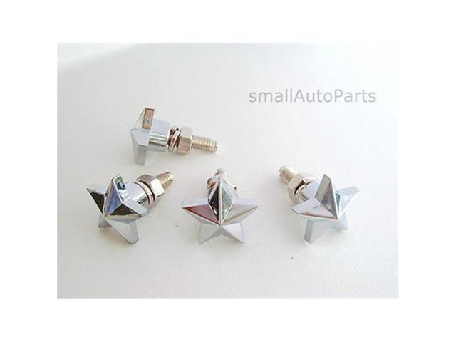 SmallAutoParts Chrome Star License Plate Frame Fasteners Bolts - Set Of 4