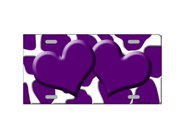 Smart Blonde LP-2970 Purple White Giraffe Print With Purple Centered Hearts Novelty License Plate