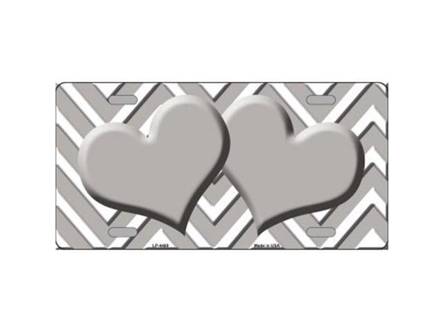 Smart Blonde LP-4489 Grey White Chevron Grey Center Hearts Metal Novelty License Plate