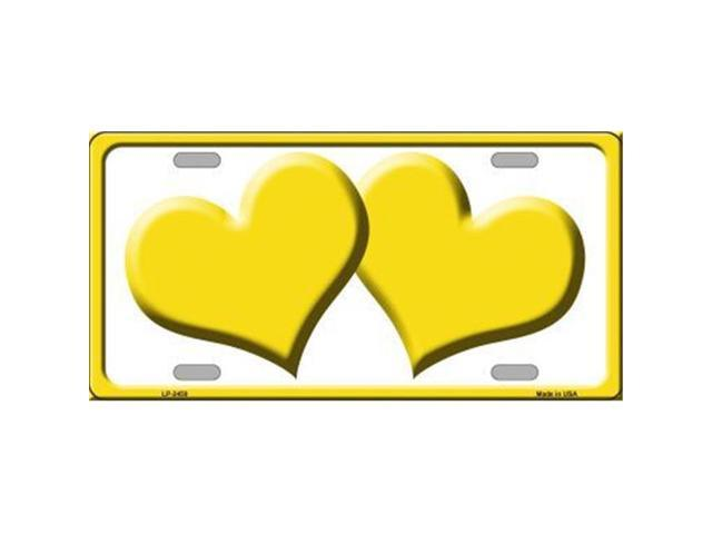 Smart Blonde LP-2459 Solid Yellow Centered Hearts With White Background Novelty License Plate